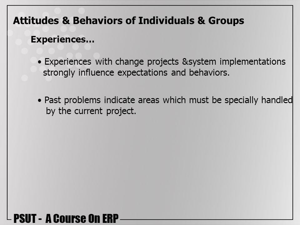 Attitudes & Behaviors of Individuals & Groups