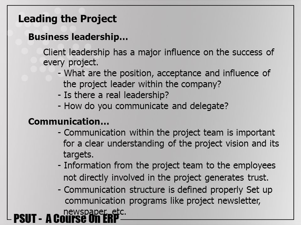 Leading the Project Business leadership…