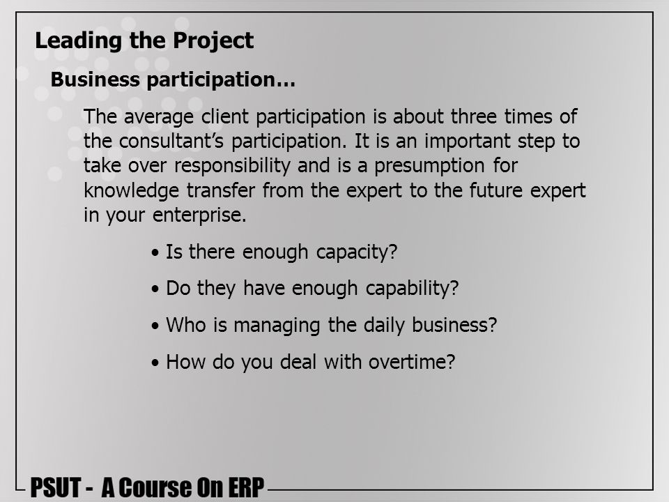 Leading the Project Business participation…