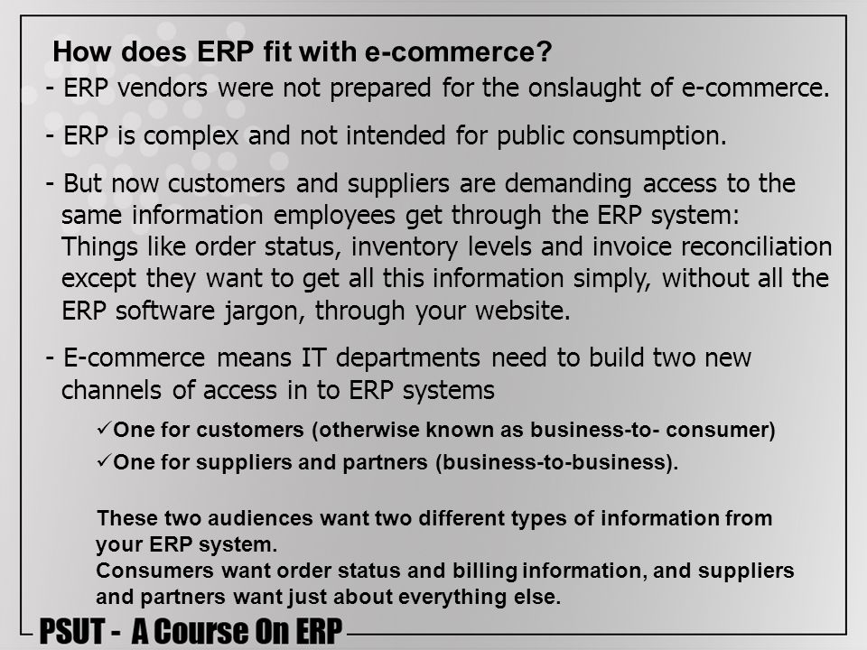 How does ERP fit with e-commerce