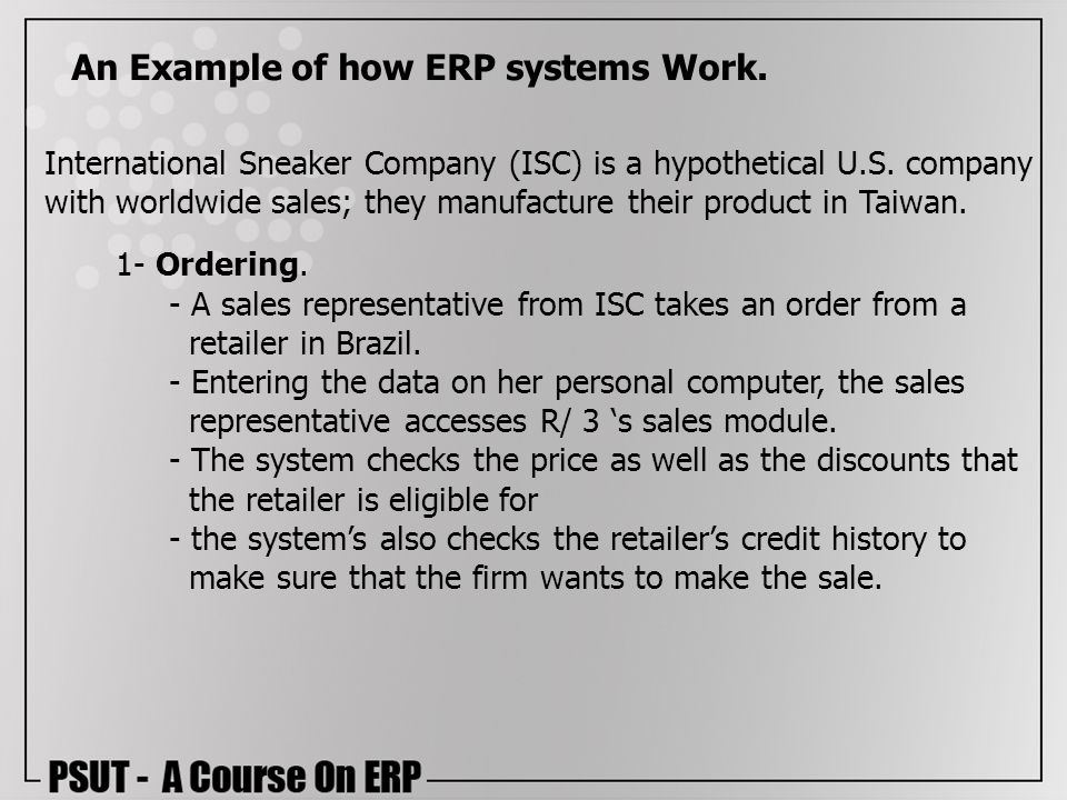 An Example of how ERP systems Work.