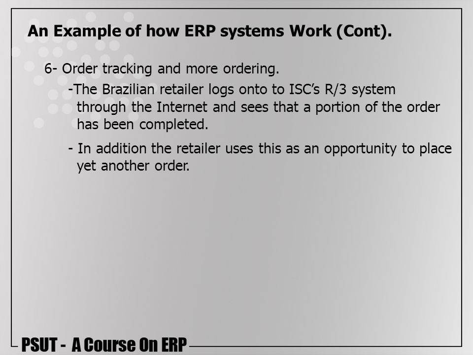 An Example of how ERP systems Work (Cont).