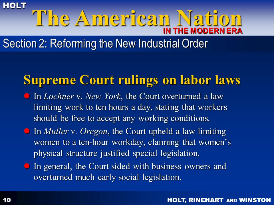 Supreme Court rulings on labor laws