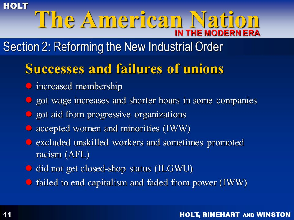 Successes and failures of unions
