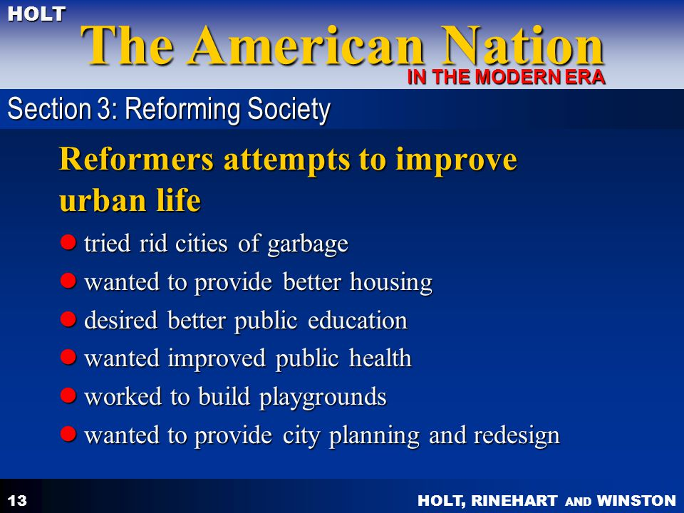 Reformers attempts to improve urban life