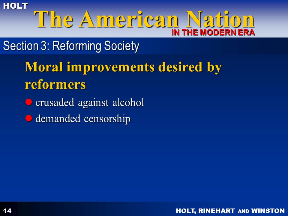 Moral improvements desired by reformers
