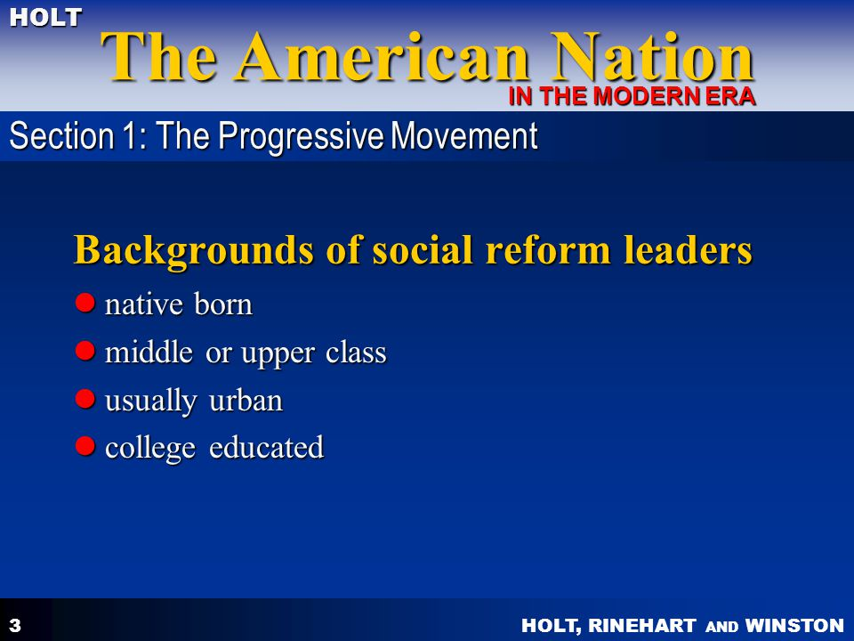Backgrounds of social reform leaders