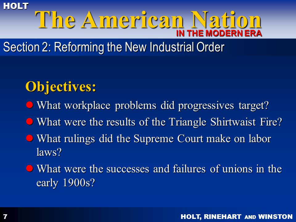 Objectives: Section 2: Reforming the New Industrial Order