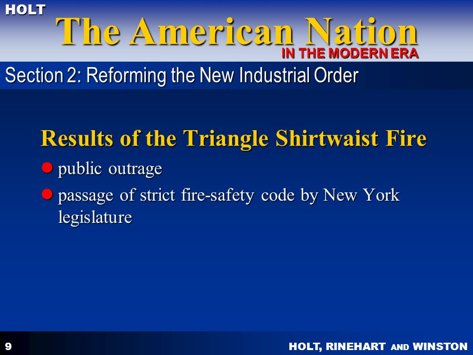 Results of the Triangle Shirtwaist Fire
