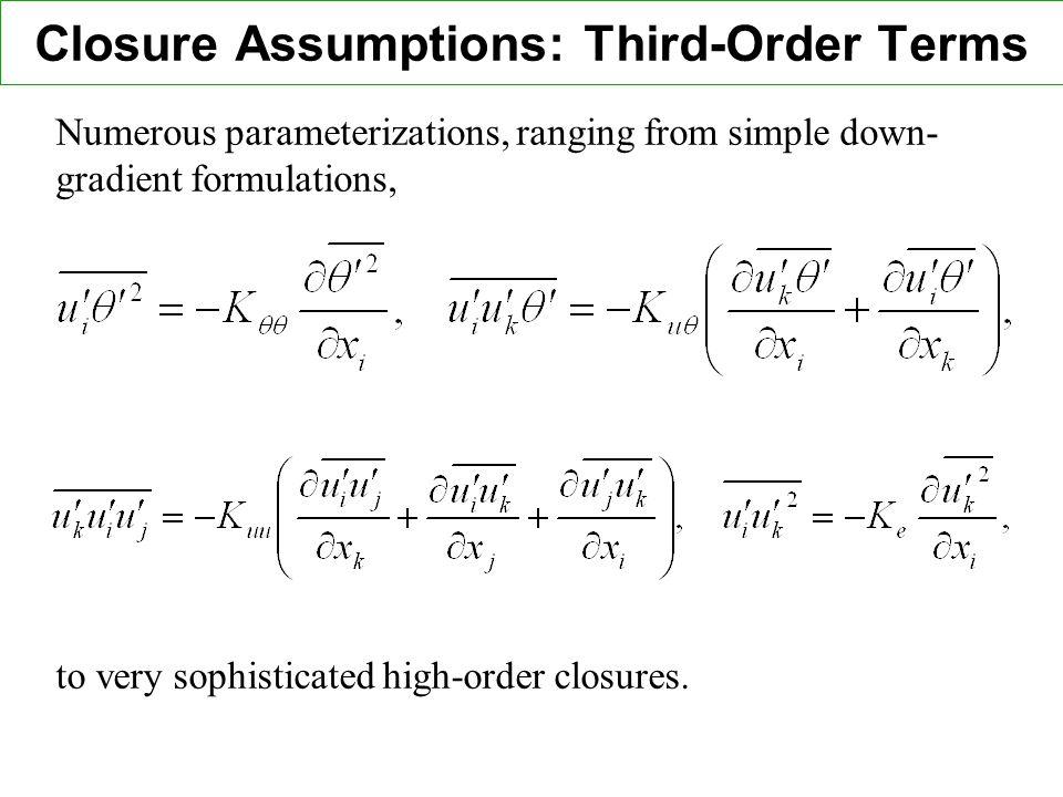 Closure Assumptions: Third-Order Terms