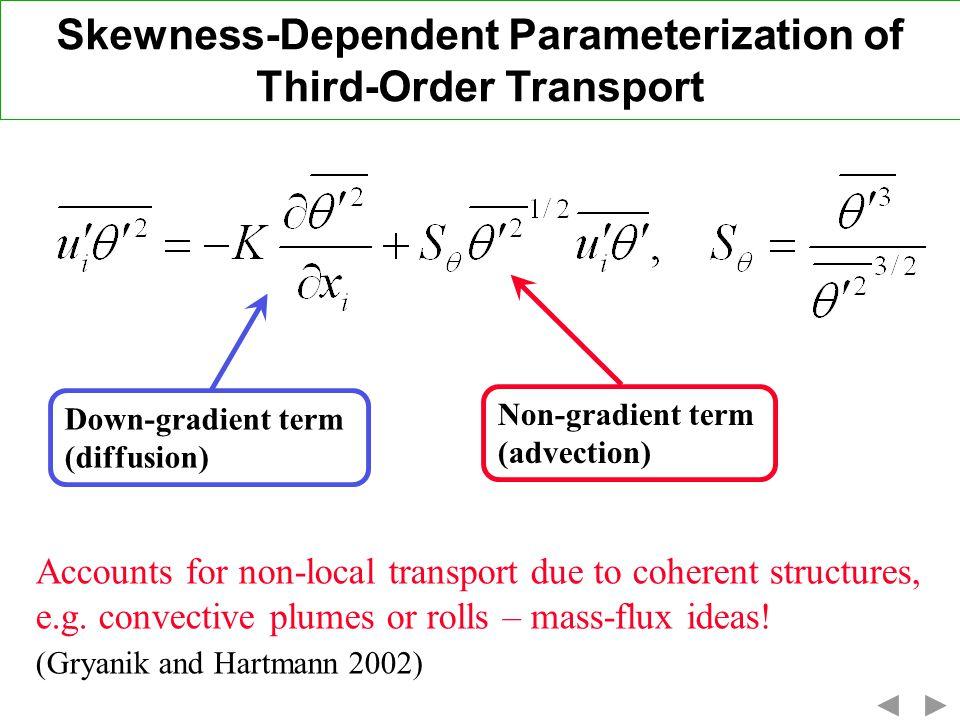 Skewness-Dependent Parameterization of Third-Order Transport