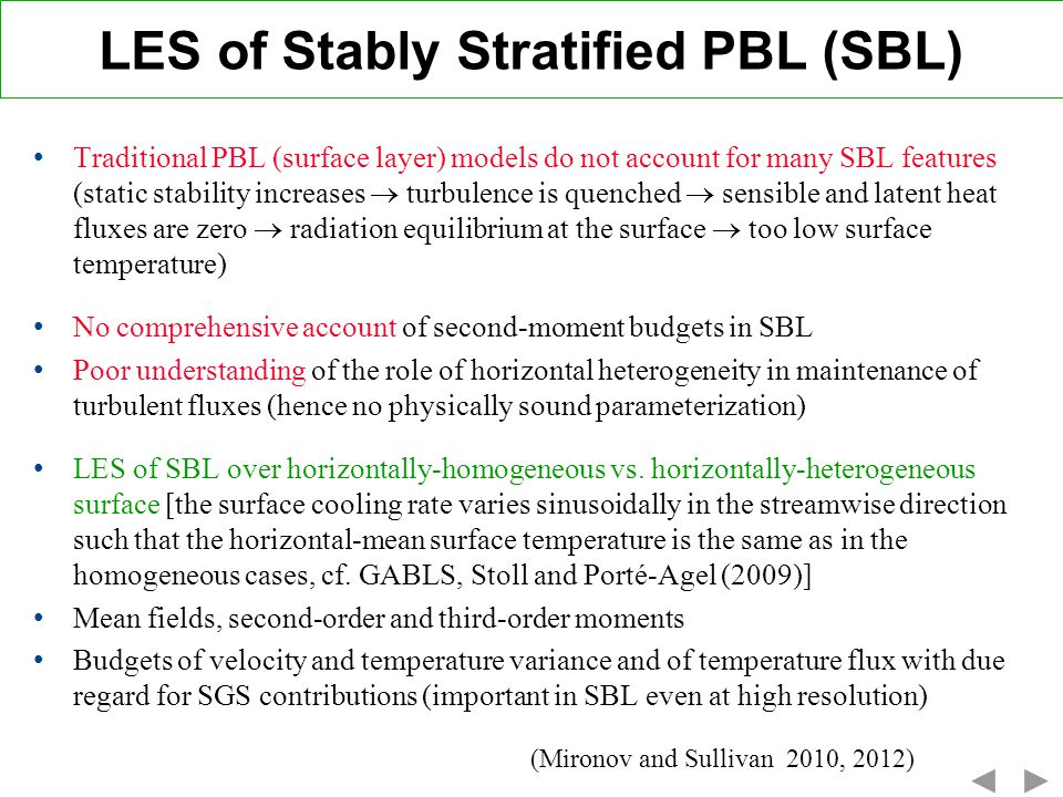 LES of Stably Stratified PBL (SBL)