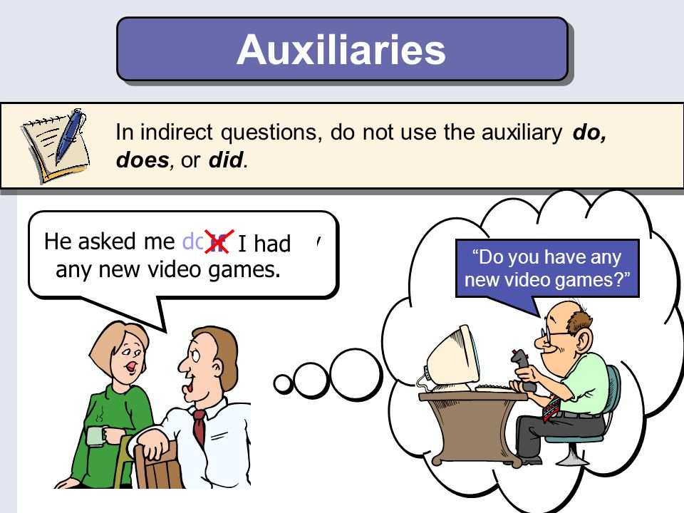 Auxiliaries In indirect questions, do not use the auxiliary do, does, or did. Do you have any new video games