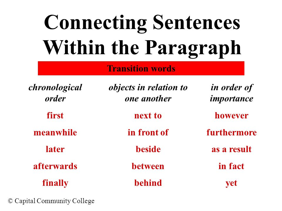 Connecting Sentences Within the Paragraph