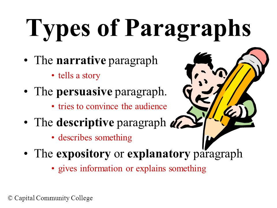 Types of Paragraphs The narrative paragraph The persuasive paragraph.
