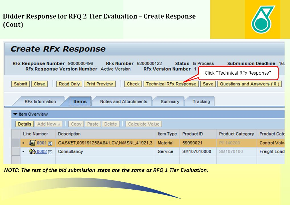 Bidder Response for RFQ 2 Tier Evaluation – Create Response (Cont)