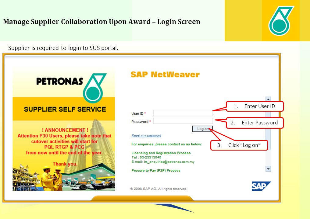 Manage Supplier Collaboration Upon Award – Login Screen