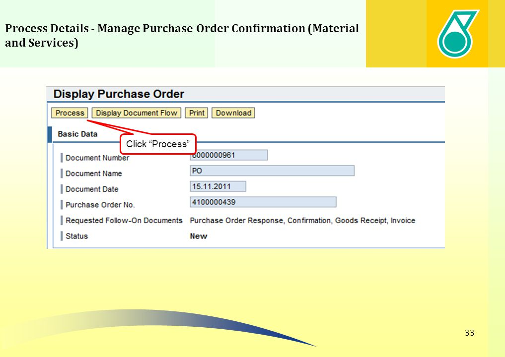 Process Details - Manage Purchase Order Confirmation (Material and Services)
