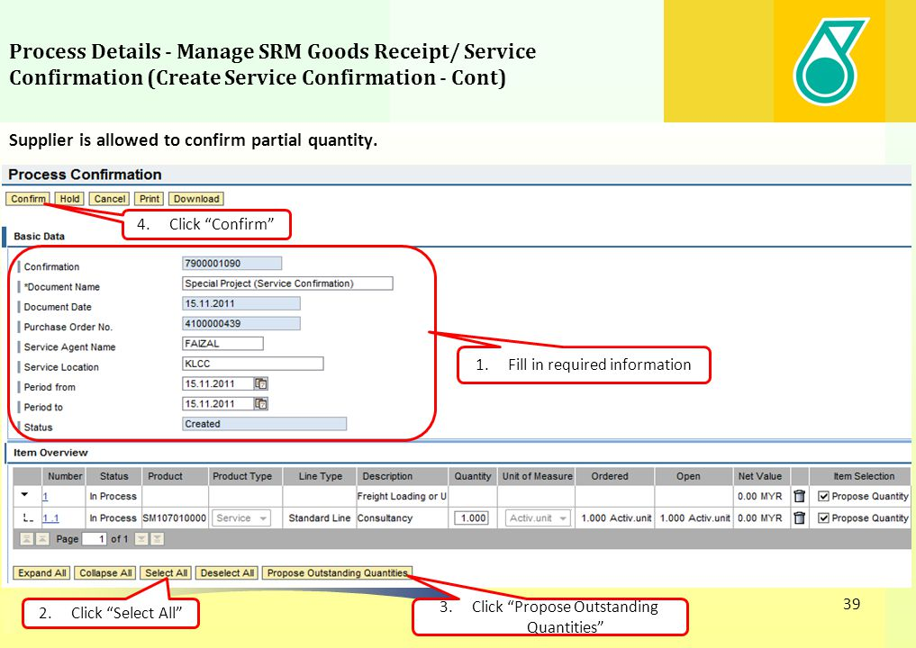 Process Details - Manage SRM Goods Receipt/ Service Confirmation (Create Service Confirmation - Cont)