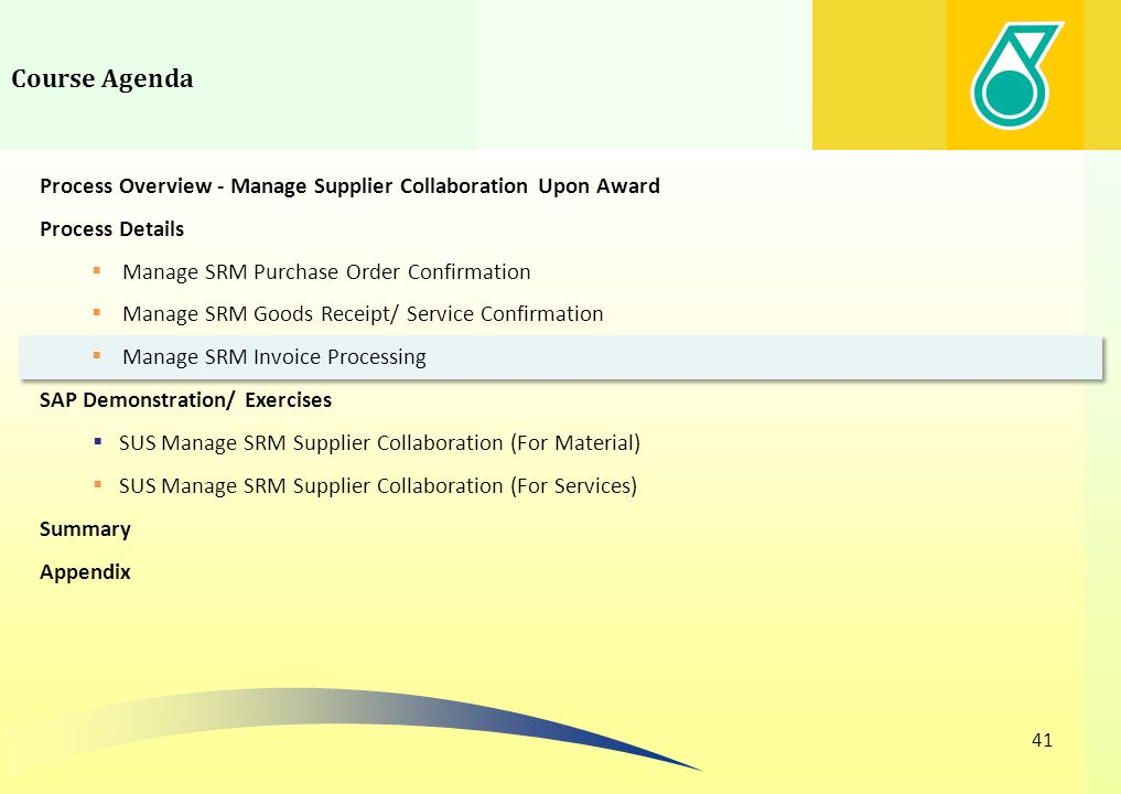Course Agenda Process Overview - Manage Supplier Collaboration Upon Award. Process Details. Manage SRM Purchase Order Confirmation.