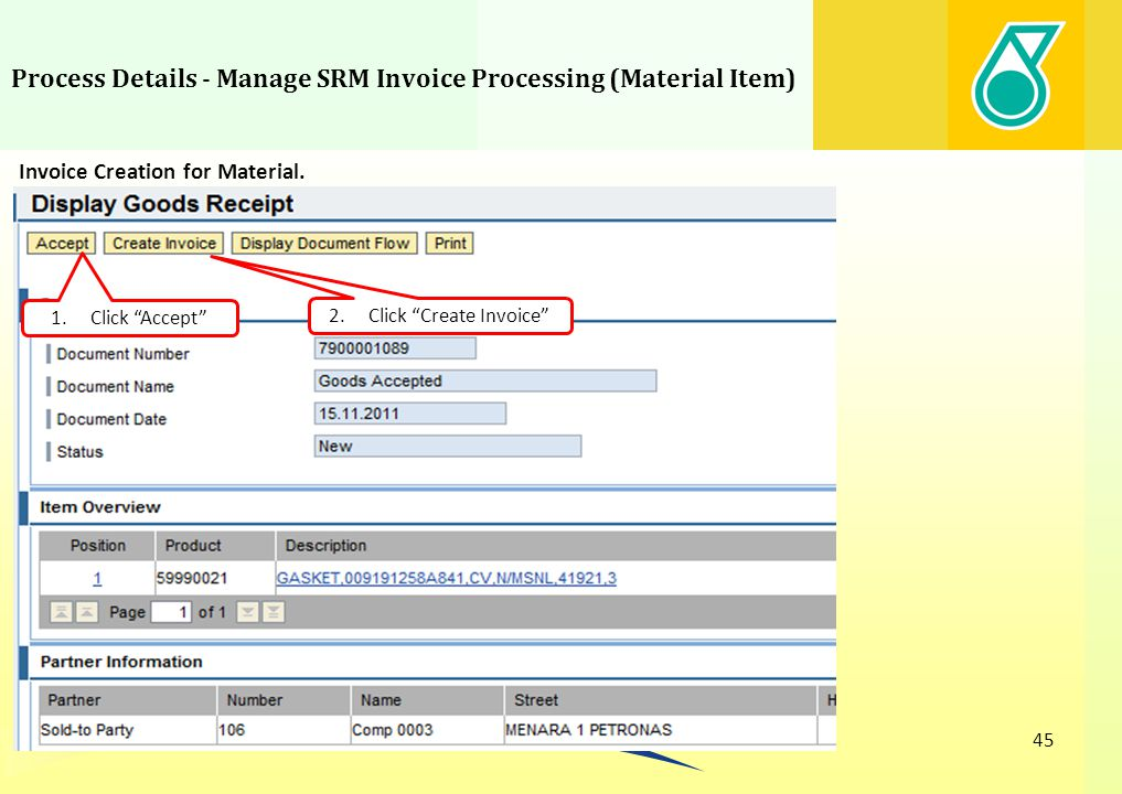 Process Details - Manage SRM Invoice Processing (Material Item)