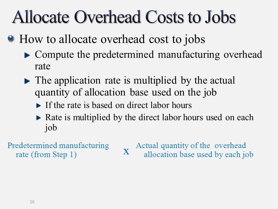 Allocate Overhead Costs to Jobs