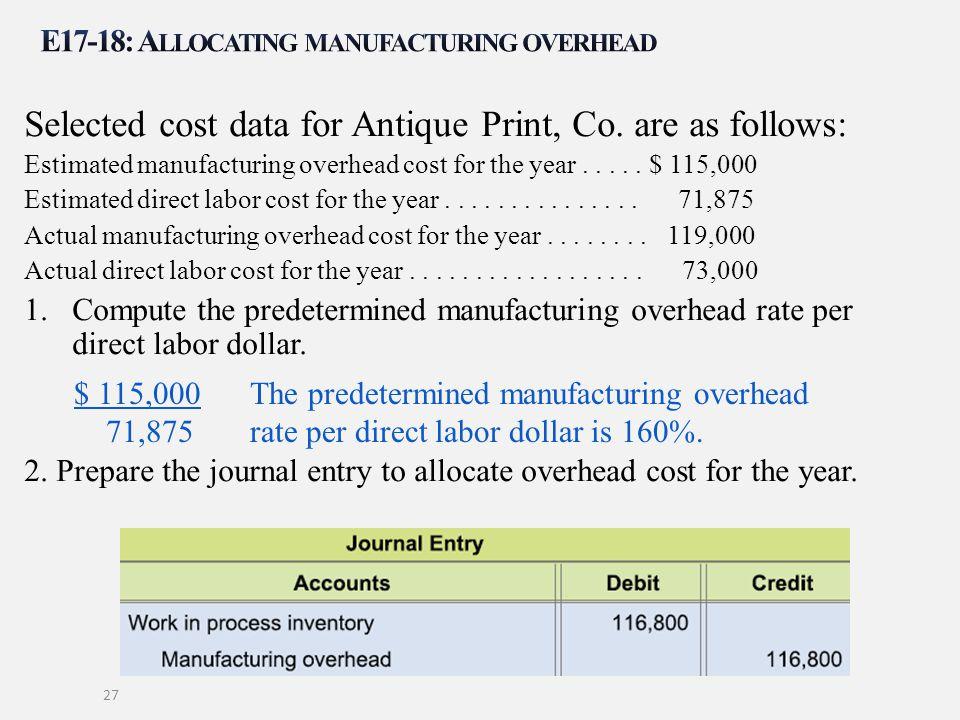 E17-18: Allocating manufacturing overhead