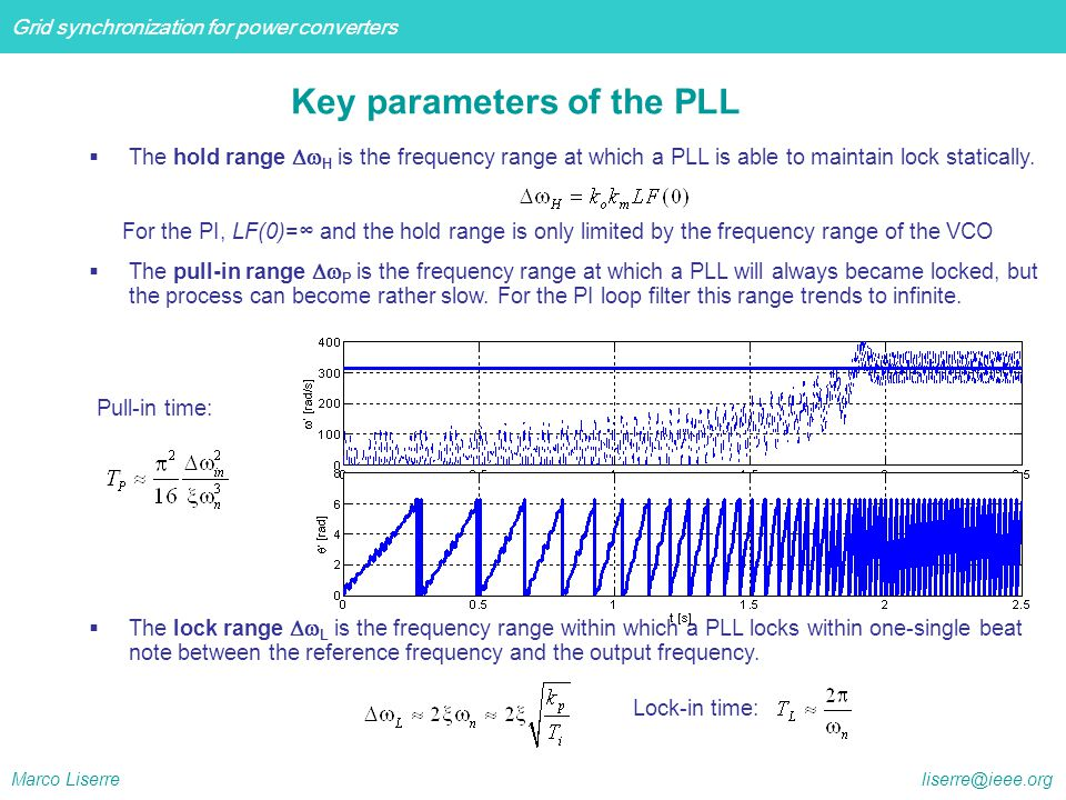 Key parameters of the PLL