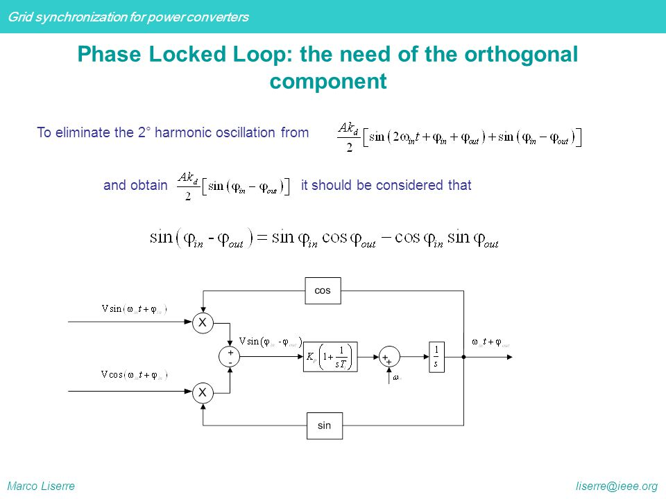 Phase Locked Loop: the need of the orthogonal component