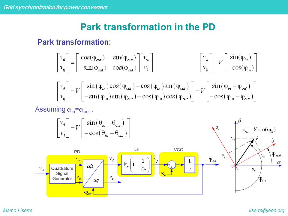 Park transformation in the PD