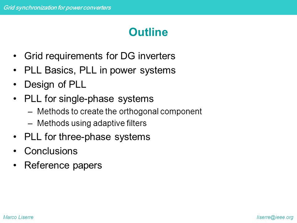 Outline Grid requirements for DG inverters
