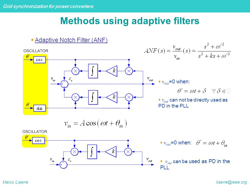 Methods using adaptive filters