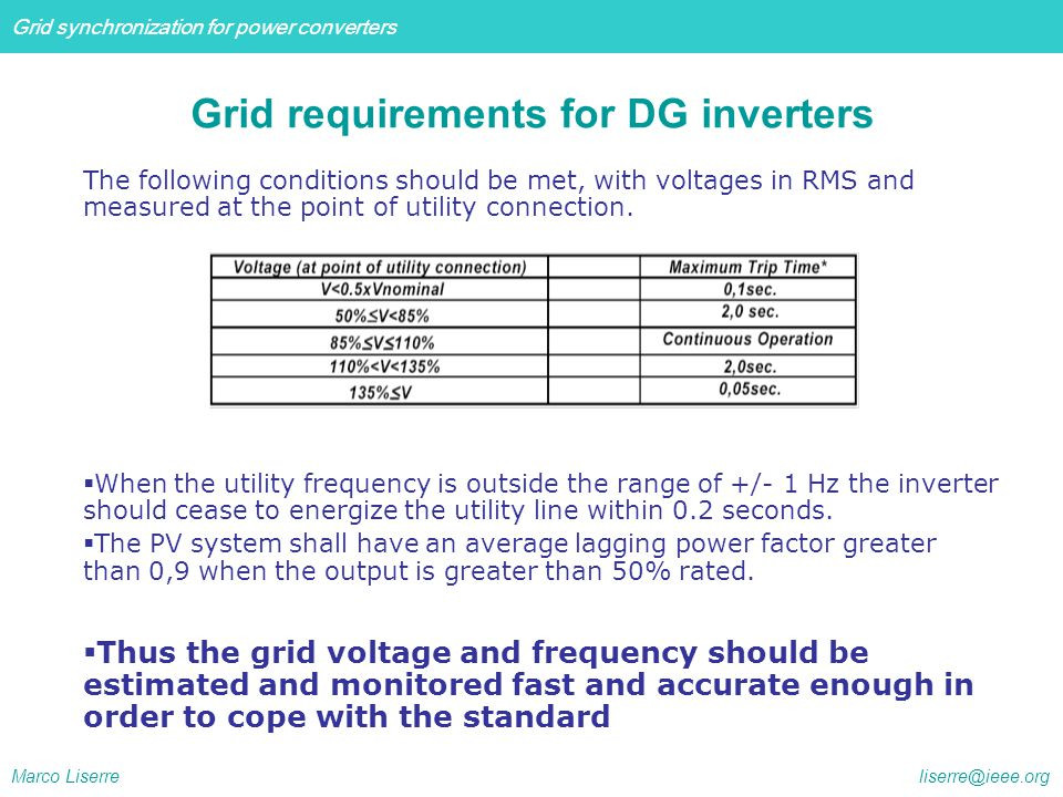 Grid requirements for DG inverters