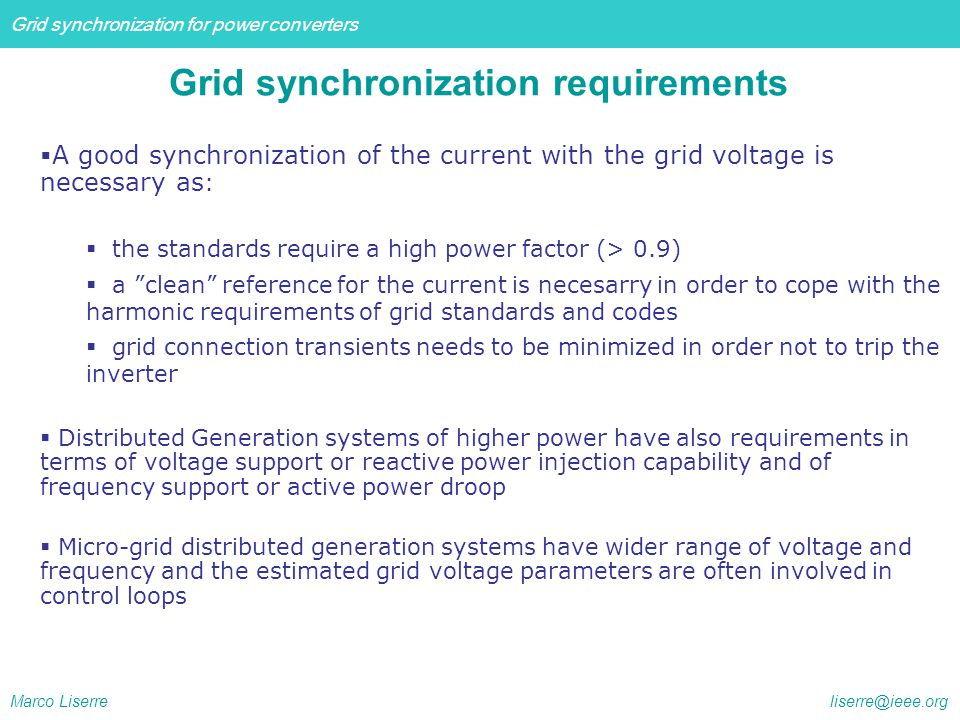 Grid synchronization requirements