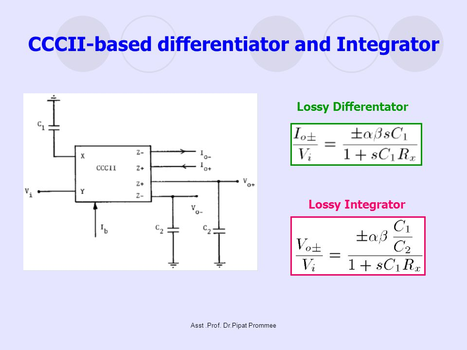 CCCII-based differentiator and Integrator