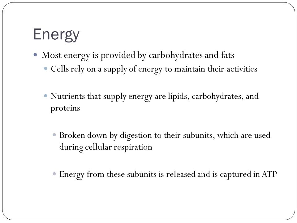 Energy Most energy is provided by carbohydrates and fats