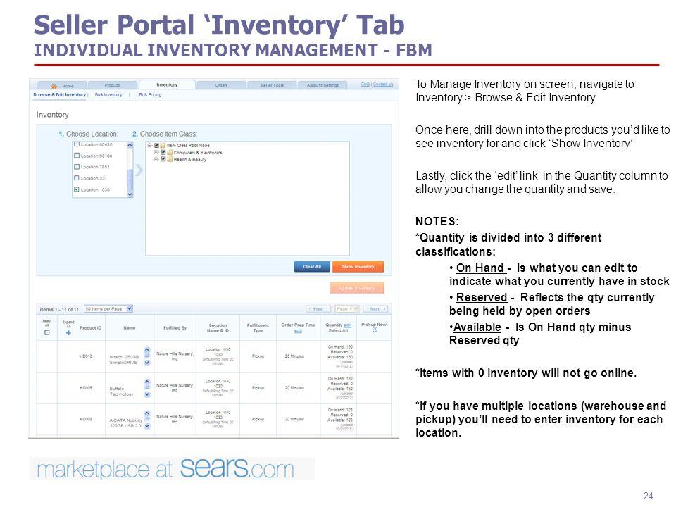 Seller Portal 'Inventory' Tab INDIVIDUAL INVENTORY MANAGEMENT - FBM