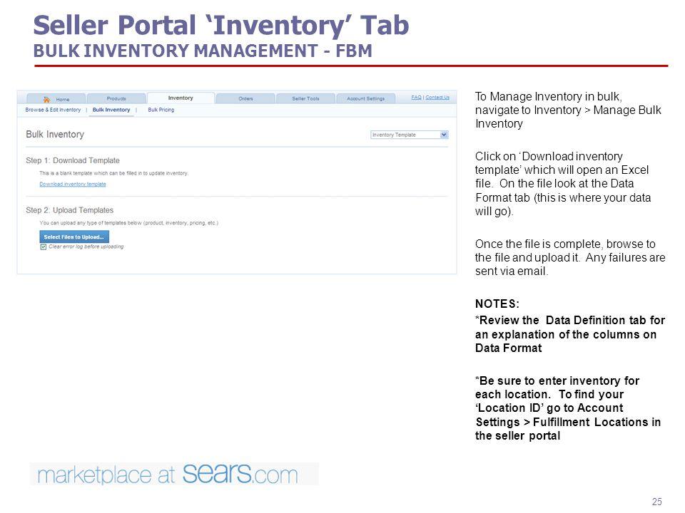 Seller Portal 'Inventory' Tab BULK INVENTORY MANAGEMENT - FBM