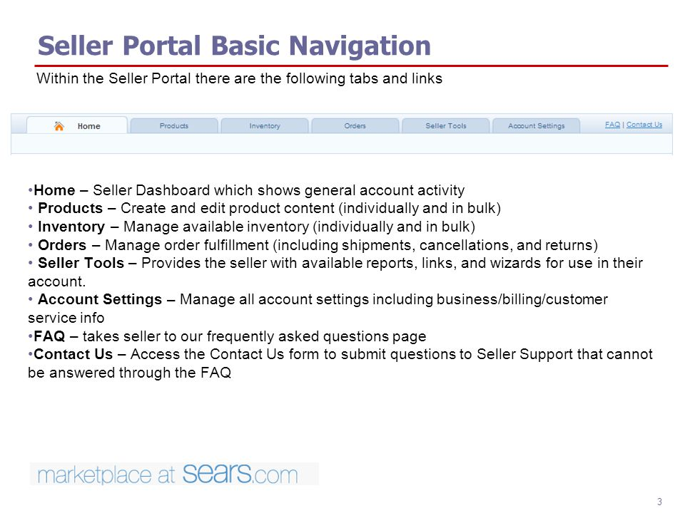 Seller Portal Basic Navigation