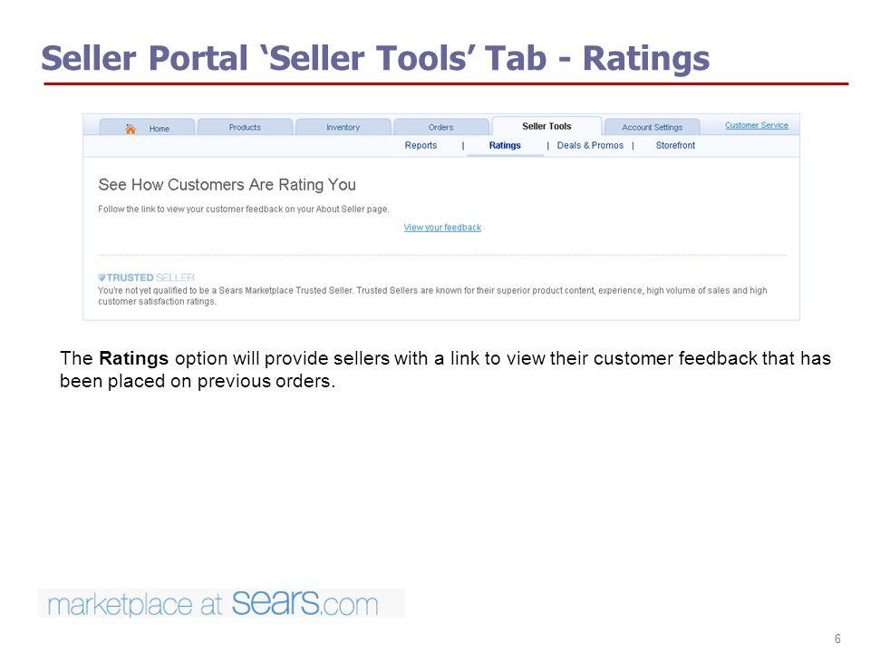 Seller Portal 'Seller Tools' Tab - Ratings
