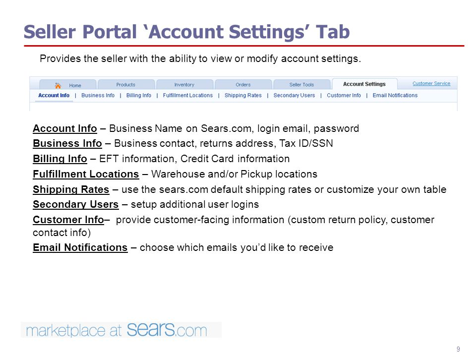 Seller Portal 'Account Settings' Tab