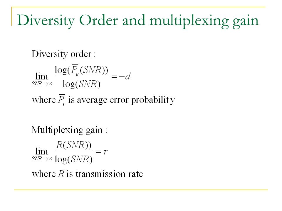Diversity Order and multiplexing gain