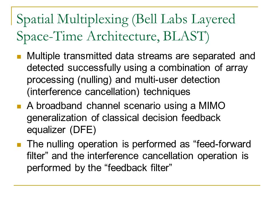 Spatial Multiplexing (Bell Labs Layered Space-Time Architecture, BLAST)