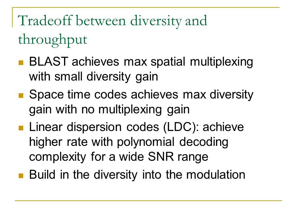 Tradeoff between diversity and throughput