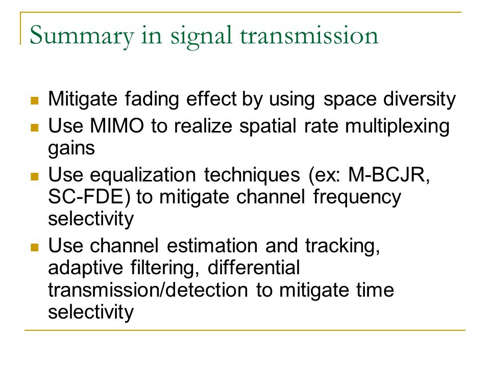 Summary in signal transmission