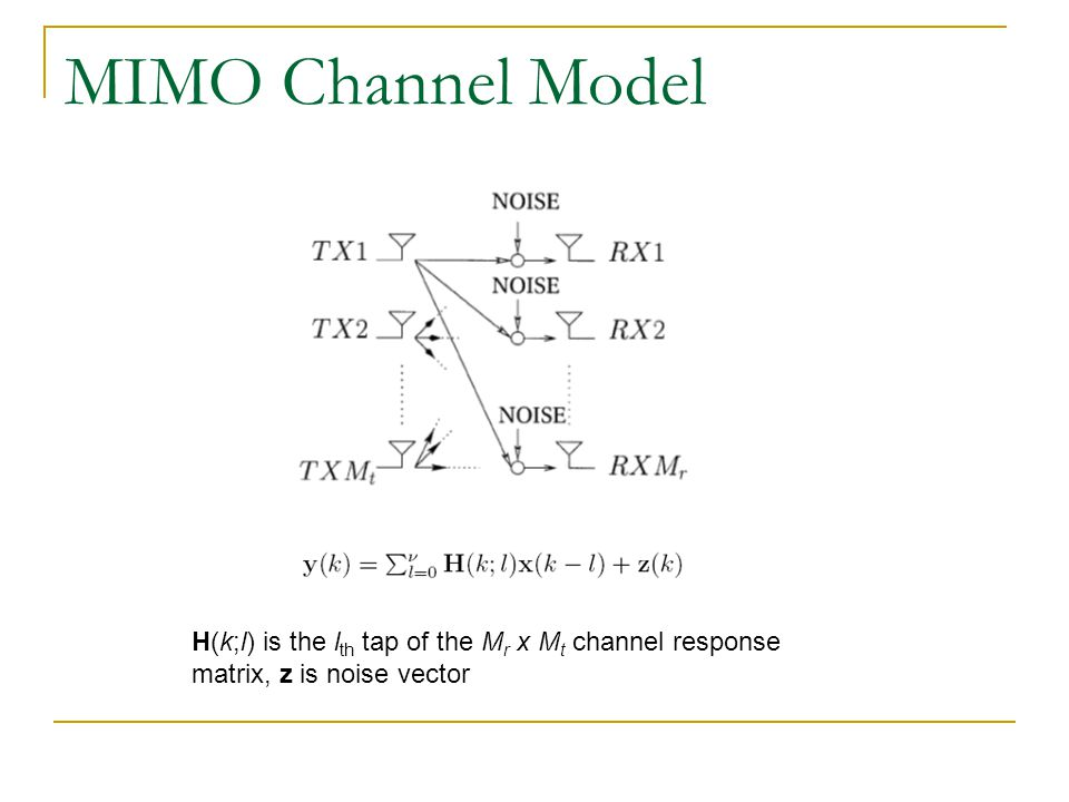 MIMO Channel Model H(k;l) is the lth tap of the Mr x Mt channel response matrix, z is noise vector