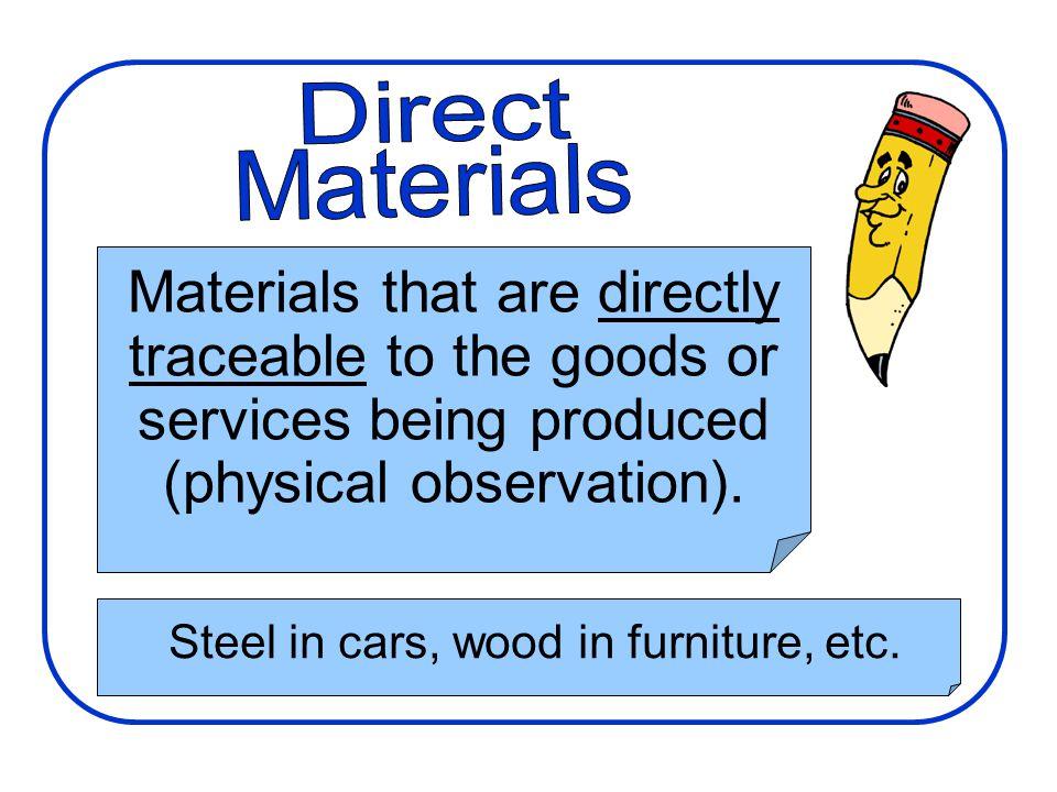 Steel in cars, wood in furniture, etc.