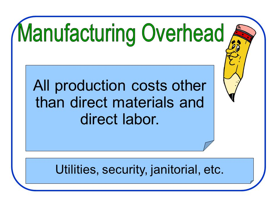 Manufacturing Costs All production costs other than direct materials and direct labor.