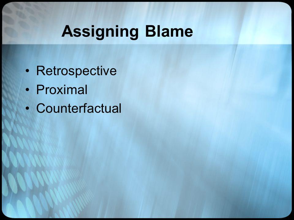 Assigning Blame Retrospective Proximal Counterfactual