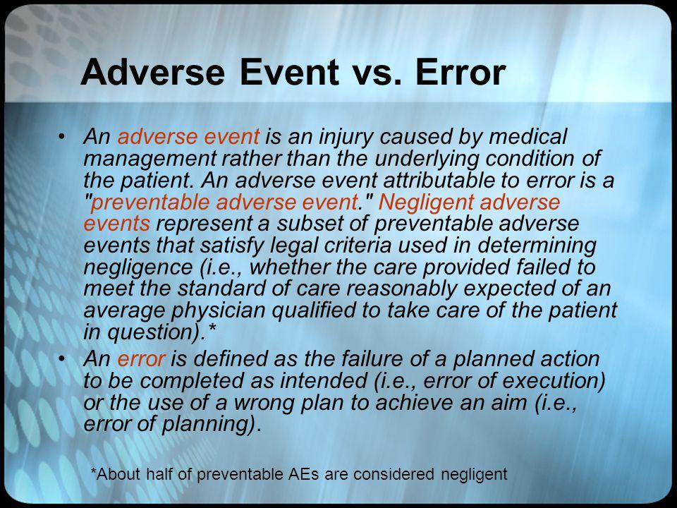 Adverse Event vs. Error